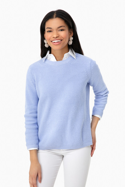 blue mist emma crewneck shaker sweater