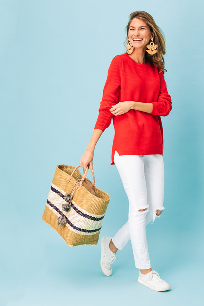 cardinal red emma shaker sweater