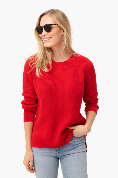 cardinal red emma crewneck shaker sweater