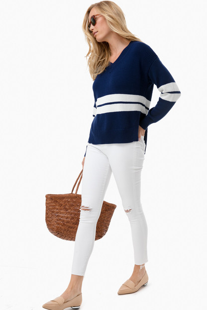 navy block stripe v-neck sweater