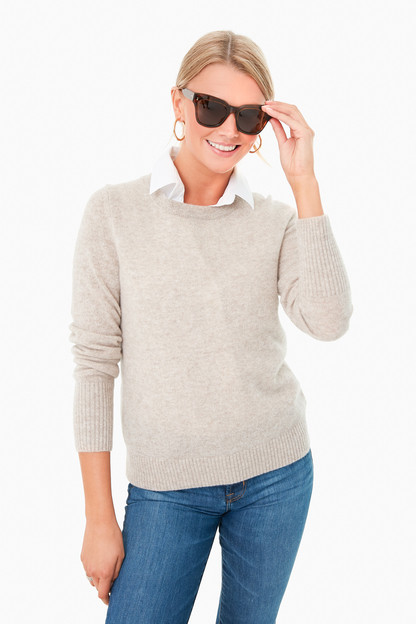 sand wisp heather essential cashmere crewneck sweater
