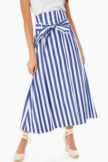 blue striped tie front skirt
