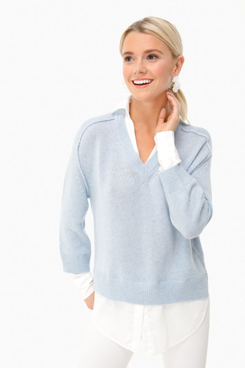sky v-neck layered pullover