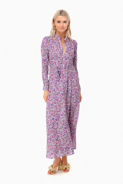 purple liberty print maxi dress
