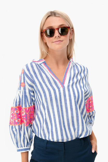ocean stripe embroidered blouse