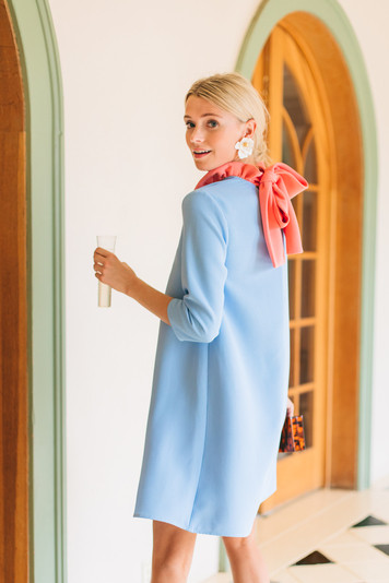sky blue color block daphne dress