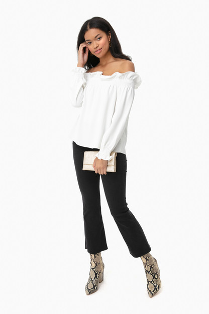 white off the shoulder marguerite blouse