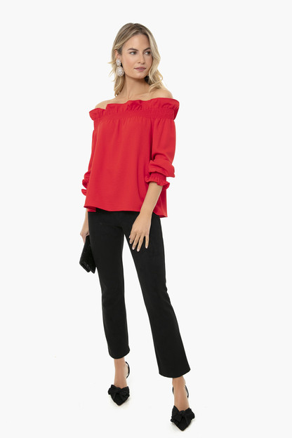 red off the shoulder marguerite blouse