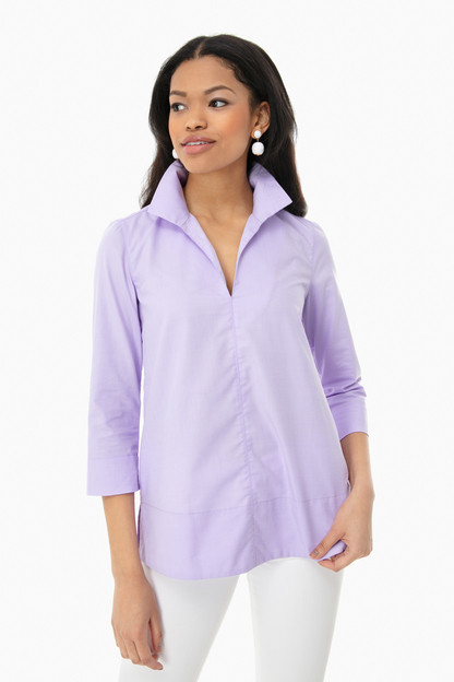 lilac sullivan stand collar blouse