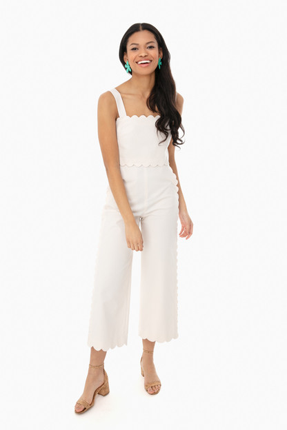 Vanilla Sleeveless Scallop Jumpsuit