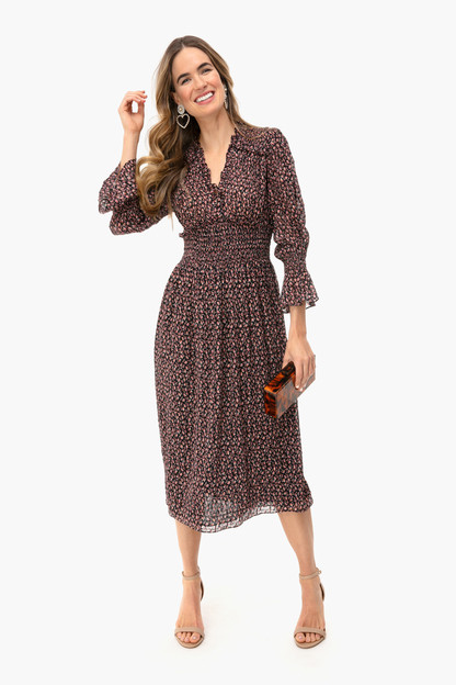 navy long sleeve francesca v-neck dress
