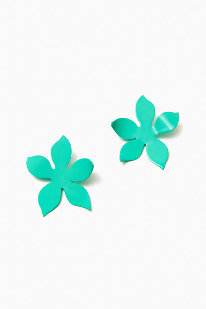 turquoise iris earrings