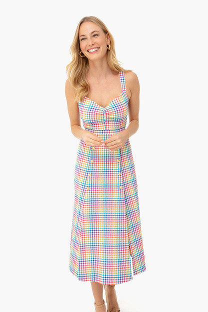 rainbow gingham anya dress