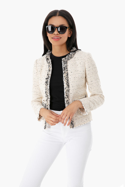 cream fringe tweed jacket