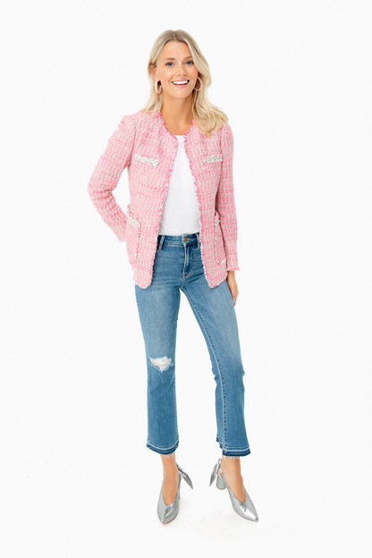 pink combo tweed jacket