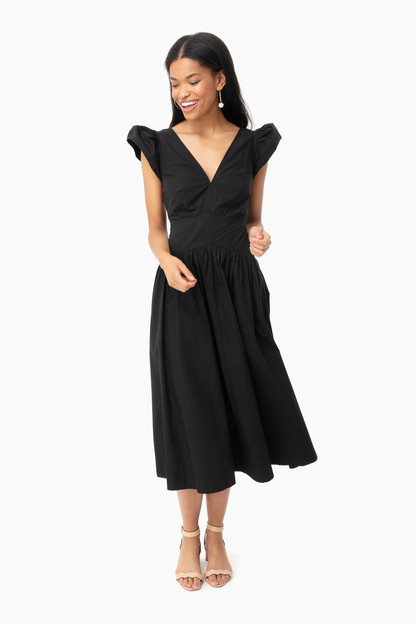 Black Sleeveless Poplin V-Neck Dress