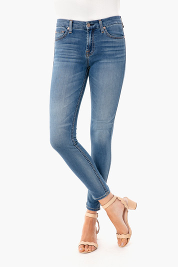 faded blue ankle skinny jeans
