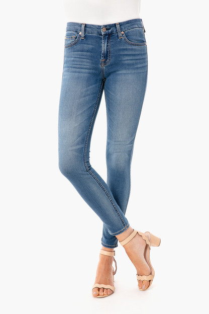 fb66639361b1 Faded Blue Ankle Skinny Jeans. 7 ...