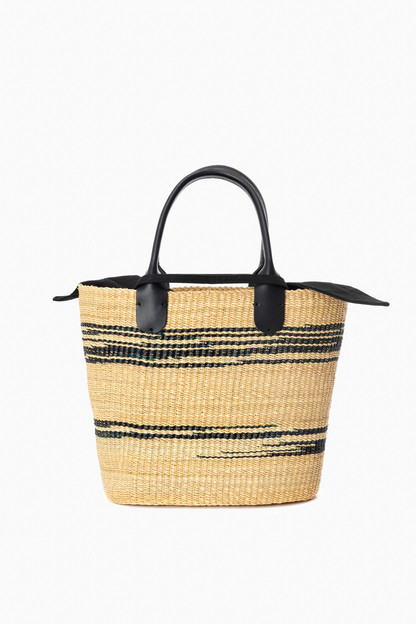 black cotton galet straw bag