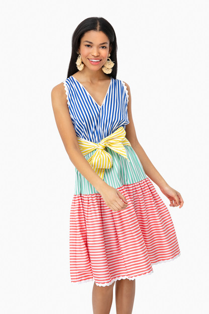 arleen tiered striped midi dress