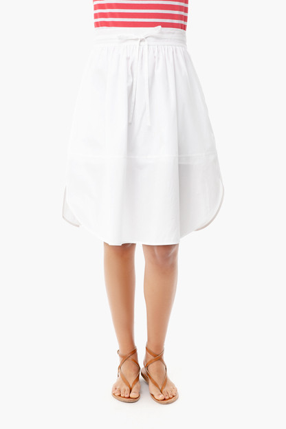 optic white wide hem skirt