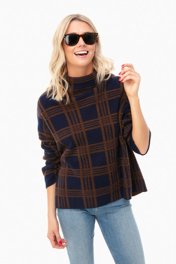 marine tartan plaid funnel shirt
