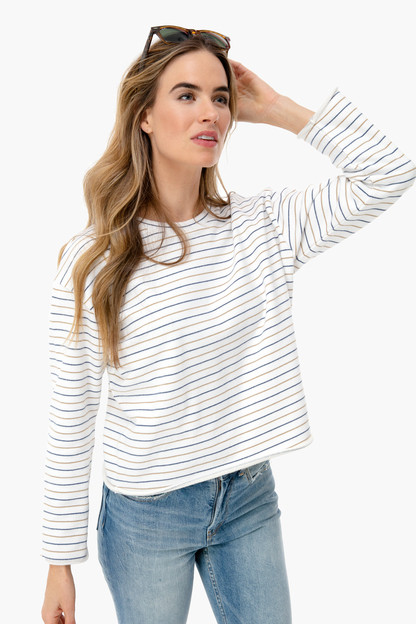 triple stripe pullover