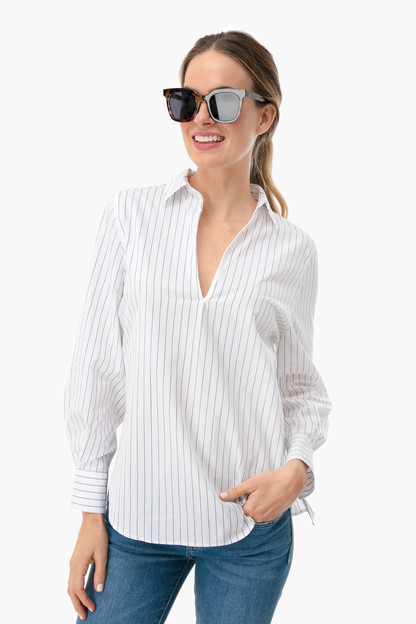bar stripe swing pullover