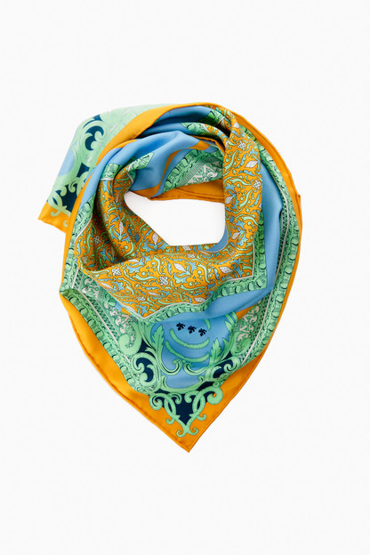 claudia blue silk scarf