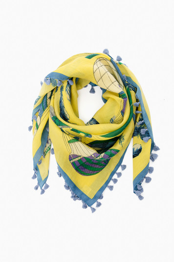 yellow classic balloon scarf with pom poms