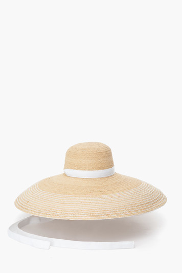 natural and white nomad sun hat