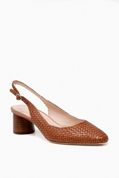 timber brown woven slingback pumps