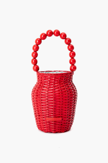 bright red wicker tote