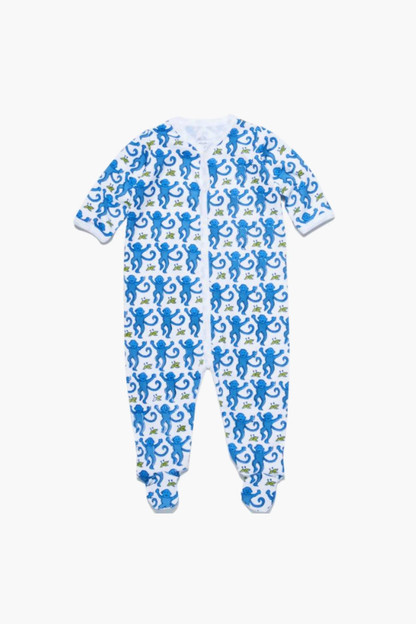 infant blue monkey footie pajamas
