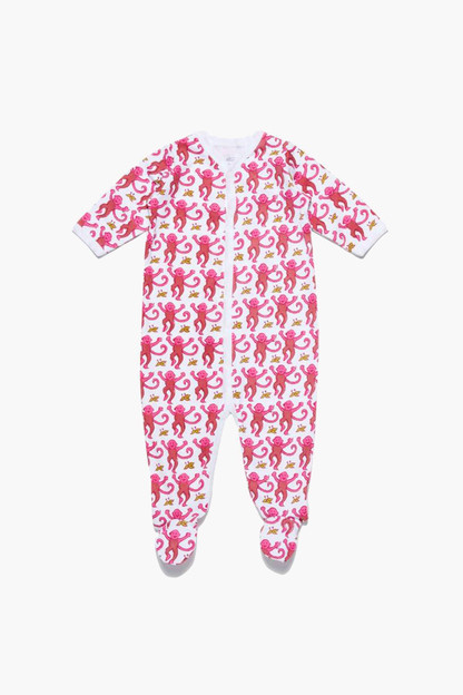 infant pink monkey footie pajamas