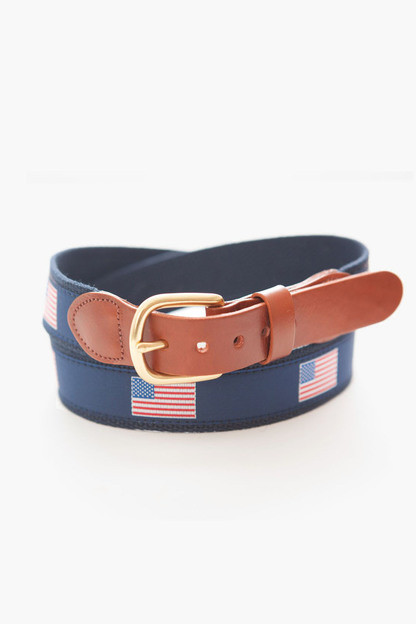 american flag tab & buckle motif belt