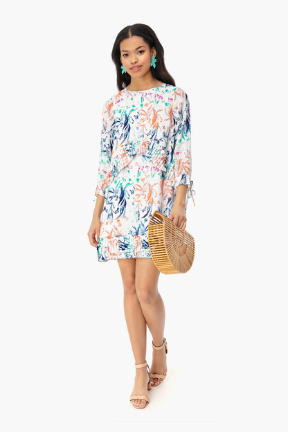 botanical white simi dress