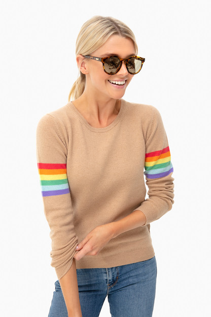 camel summer rainbow boyfriend sweater