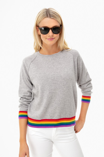 pewter stripe hem sweater