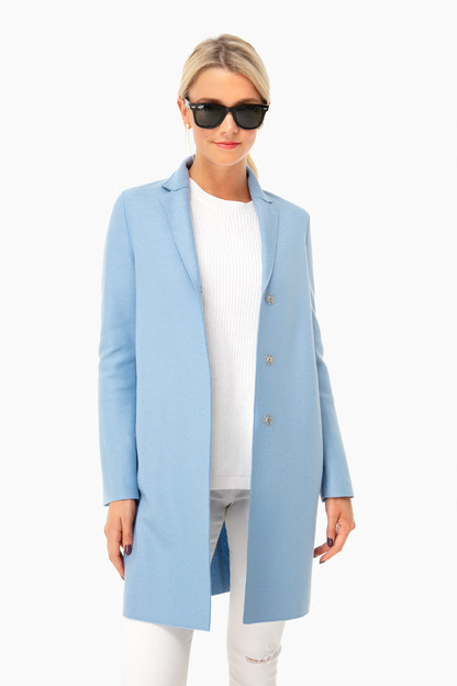 baby blue light wool cocoon coat