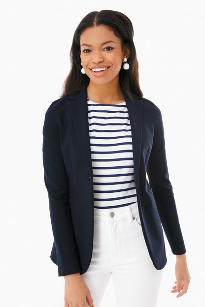 midnight women's fitted blazer with crepe viscose
