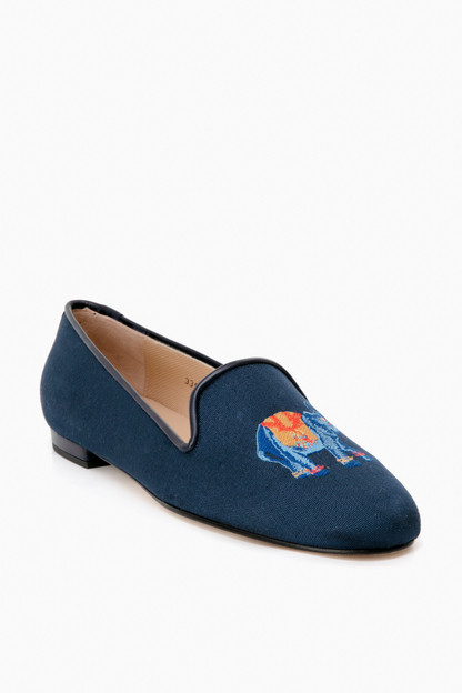navy linen elephant loafers