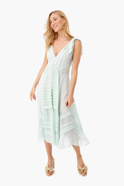 spearmint silk stripe dress
