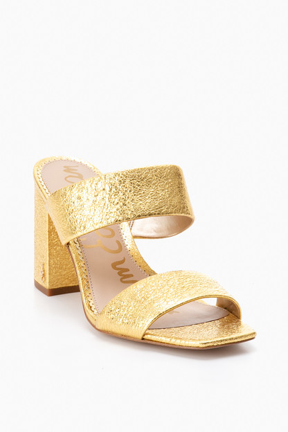 gold delaney mules