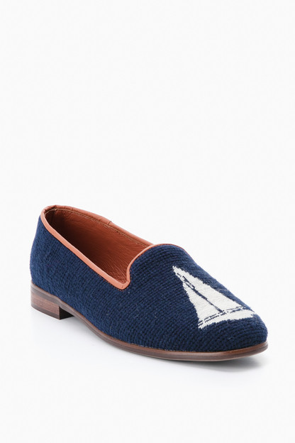 navy sailboat needlepoint loafer