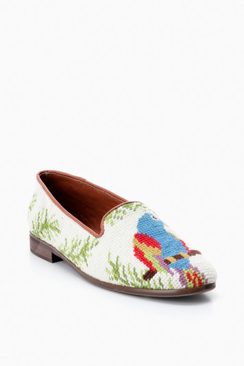 ivory parrots needlepoint loafer