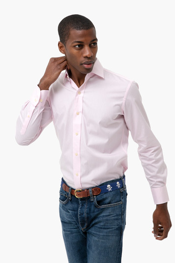 the pale pink gingham poplin shirt