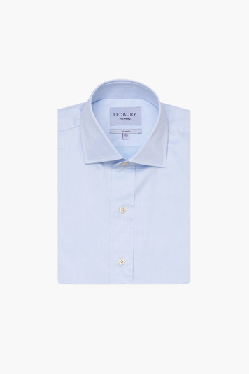 blue fine twill spread collar shirt