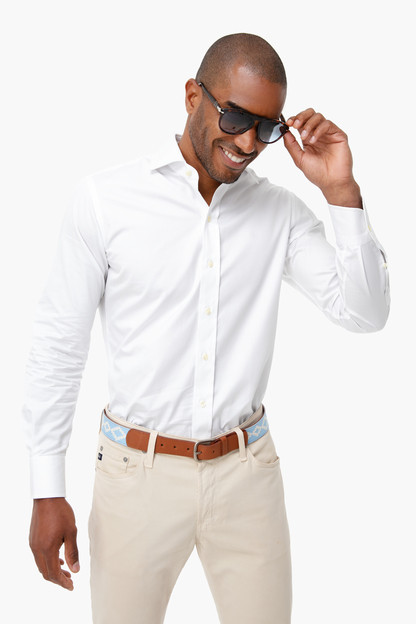 white fine twill spread collar shirt