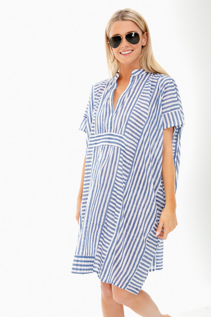 blue stripe emerson short caftan